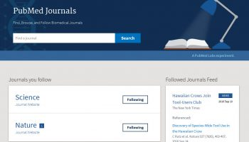 PubMed Journals for tracking favorite journals