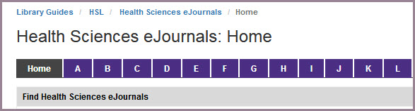 New eJournals List: Quicker Way to Browse Health Sciences Journals!