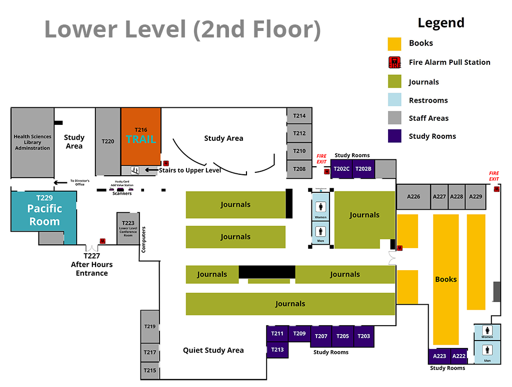 2nd Floor Map for UW HSL Library
