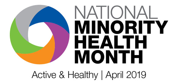 "National Minority Health Month logo - ""Active & Healthy"""